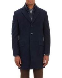 Fay Three Button Combo Overcoat Blue Size 36