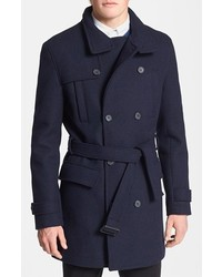 Topman Double Breasted Wool Blend Trench Coat