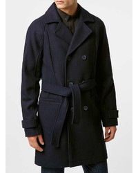 Topman Navy Wool Blend Belted Trench Coat