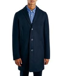 Topman Navy Wool Blend Topcoat