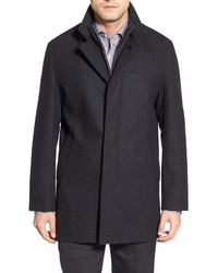 Cole Haan Wool Blend Topcoat With Inset Knit Bib