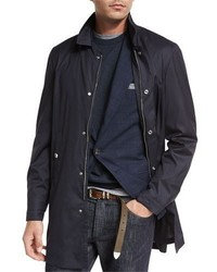 Brunello Cucinelli Wool Silk Overcoat Navy