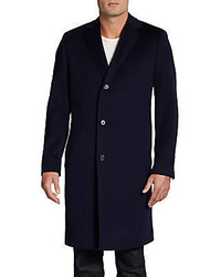 Saks Fifth Avenue BLACK Wool Three Button Topcoatslim Fit