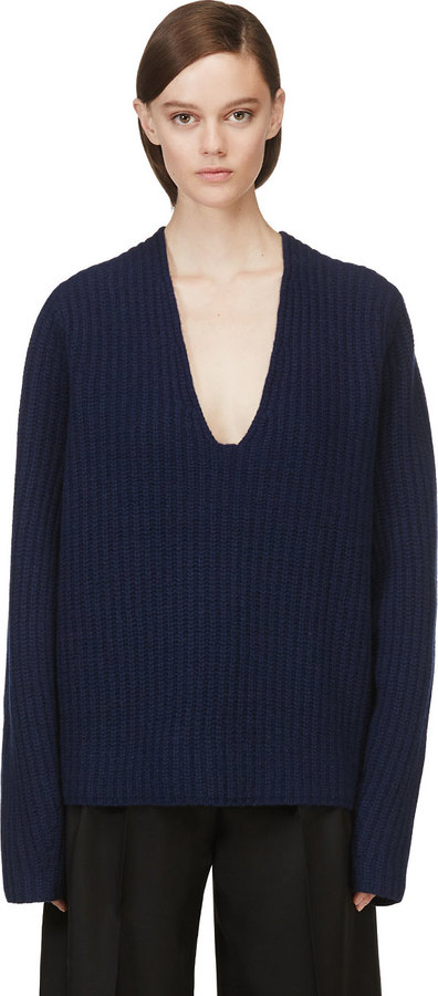 Acne Studios Navy Oversized V Neck Deborah Sweater | Where to buy ...