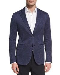Etro Paisley Cotton Sport Coat Navy