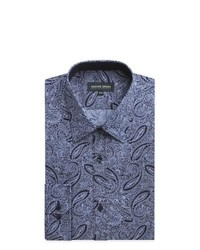 Navy Paisley Dress Shirt
