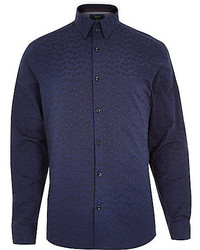 River Island Navy Paisley Print Long Sleeve Shirt