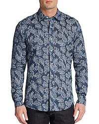 Paisley print linen sportshirt medium 200516