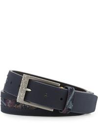 Robert Graham Paisley Print Leather Belt Navy