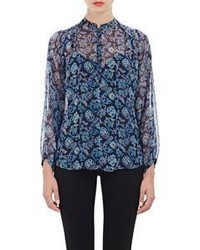 Barneys New York Paisley Print Peasant Blouse Blue Size 36it