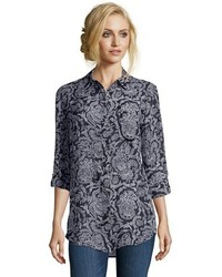 Theory Navy Blue Paisley Silk Chiffon Simara Nb Button Front Blouse
