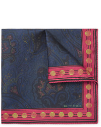 Etro Paisley Print Silk Twill Pocket Square