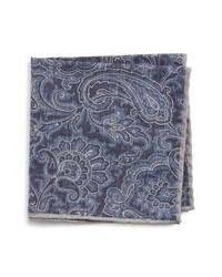 Eleventy Paisley Wool Cotton Pocket Square