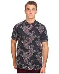 Navy Paisley Short Sleeve Shirt