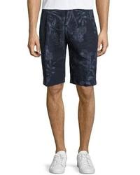 Etro Paisley Linen Shorts Navy