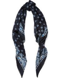 Saint Laurent Paisley Print Cashmere And Silk Blend Scarf Blue