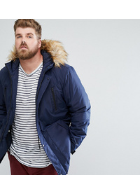 ASOS DESIGN Asos Plus Parka Jacket With Faux In Navy
