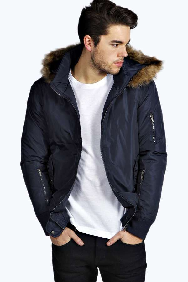 cf6bd595 $88, Boohoo Bomber Jacket With Faux Fur Parka Hood