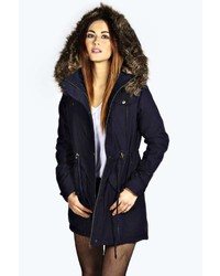 Boohoo Alia Faux Fur Leather Trim Parka