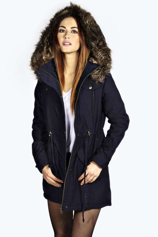 Boohoo Alia Faux Fur Leather Trim Parka | Where to buy & how to wear