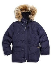 Ralph Lauren Boys Faux Fur Trim Down Parka