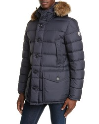 Moncler Cluny Down Parka With Genuine Hood