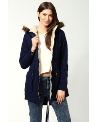 Boohoo Emily Parka With Faux Fur Hood