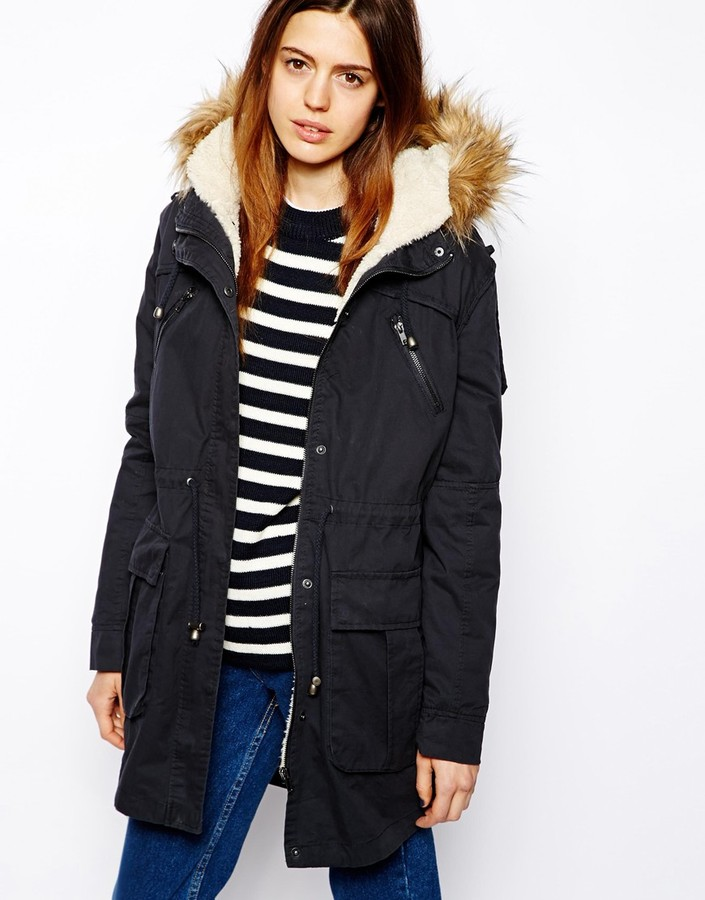 Asos Faux Fur Hooded Detachable Lined Parka Navy | Where to buy ...