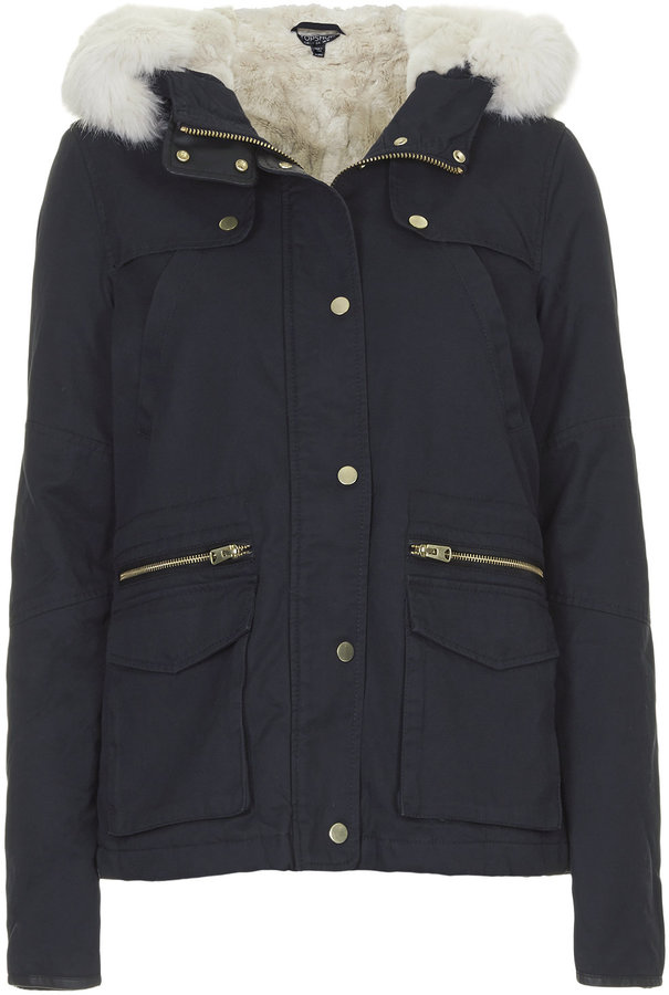 Short Navy Parka Coat