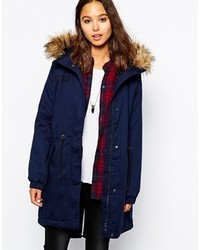 Only Long Line Parka With Faux Fur Hood