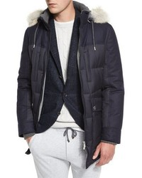 Brunello Cucinelli Mixed Media Quilted Parka Wfur Trim Hood Navy