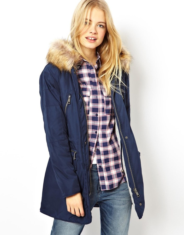 Asos Nylon Parka With Faux Fur Trim Hood Navy | Where to buy & how ...