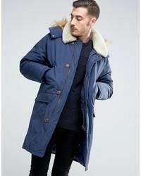 Asos Parka Jacket With Fleece Collar In Navy