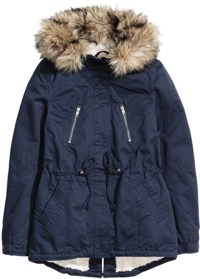 0a947b03298 $59, H&M Pile Lined Parka Dark Blue Ladies