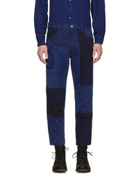 Blue Blue Japan Blue Patchwork Ankle Jeans