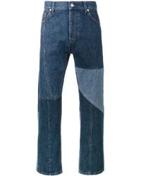 Alexander McQueen Blue Patchwork Straight Leg Jeans