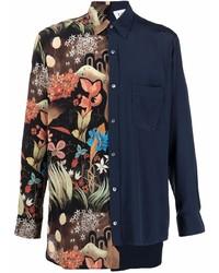 Lanvin Asymmetrical Patchwork Shirt