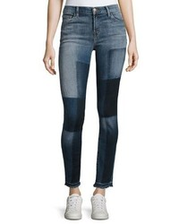 J Brand 811 Mid Rise Skinny Patchwork Jeans Reunion