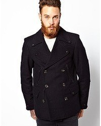 Asos Peacoat With Military Detail In Navy Navy