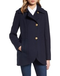 French Connection Back Belt Wool Blend Peacoat