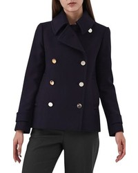 Reiss Becall Double Breasted Wool Blend Peacoat