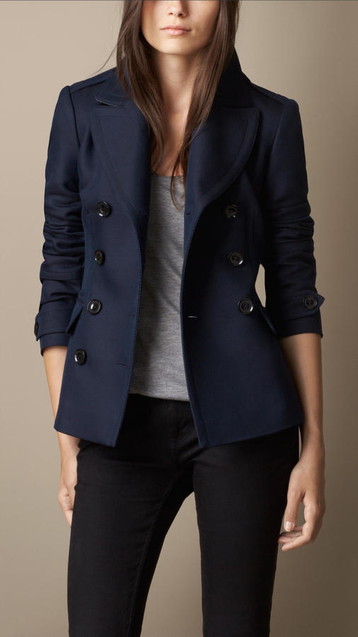 f0b05c7fe Burberry Brit Double Breasted Pea Coat With Pleat Detail