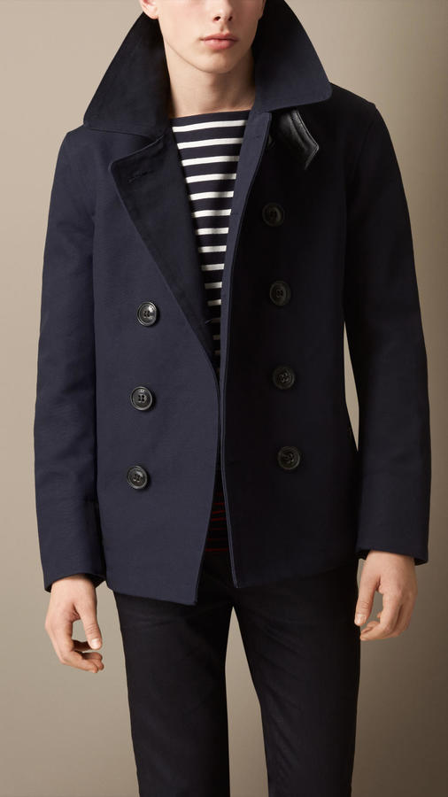 Burberry Brit Leather Detail Bonded Cotton Pea Coat | Where to buy