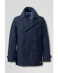 Classic Cotton Nylon Pea Coat Dark Cobalt Blue