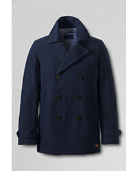 Classic Cotton Nylon Pea Coat Dark Cobalt Blue4xl