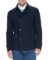 Loro Piana Cottoncashmere Pea Coat Navy