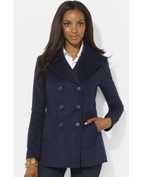 Double breasted wool blend peacoat medium 368478