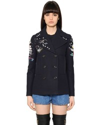 Valentino Embellished Wool Cloth Peacoat