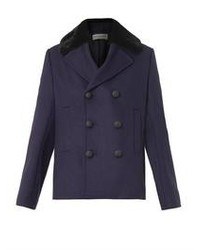 Balenciaga Fur Collar Wool Blend Pea Coat