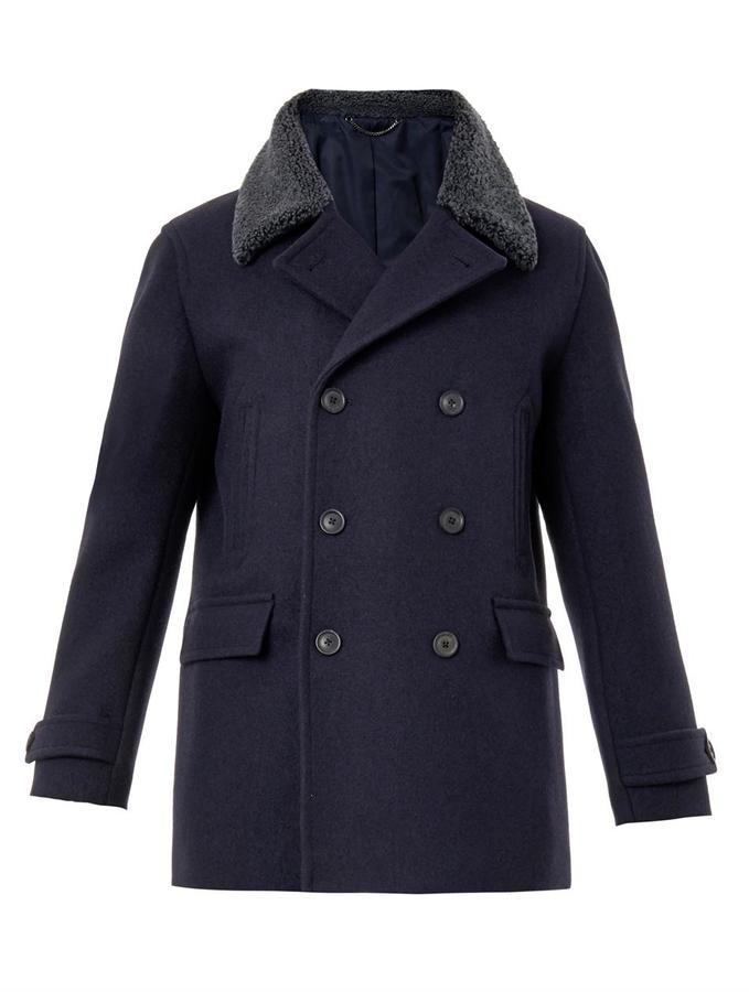 ... Gieves Hawkes Shearling Collar Wool Pea Coat